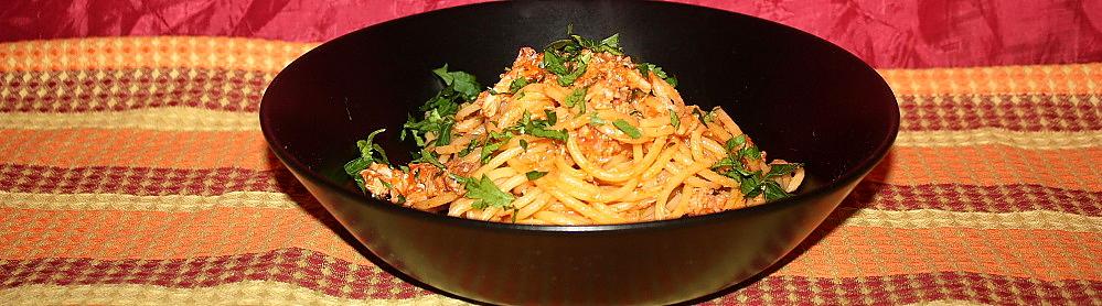 Spaghetti conditi al sugo di spannocchie