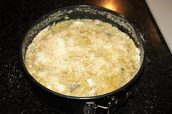 Torta di riso con melanzane e porcini