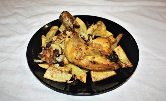 pollo con olive e cipolla